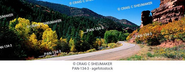 Route 145, San Miguel River, Colorado, USA
