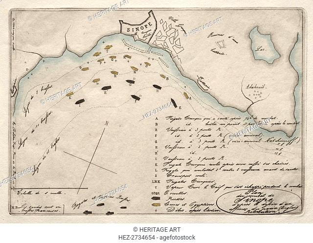 Map of the Battle of Sinope, 1853. Creator: Charles Meryon (French, 1821-1868)