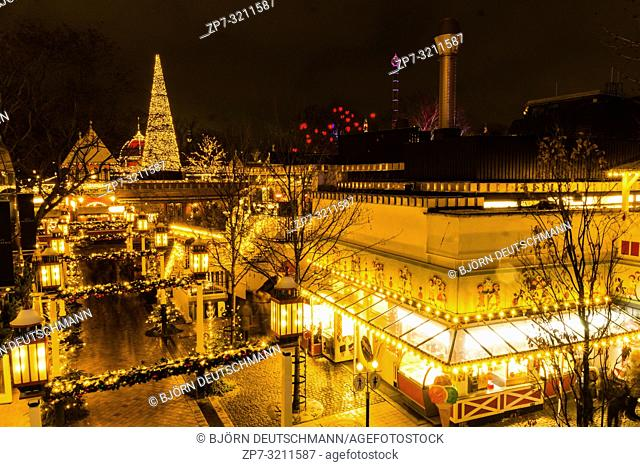 The enlightened Tivoli Garden, Copenhagen, Denmark, during Nighttime and Christmas Time