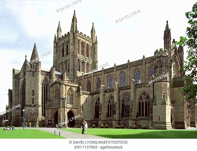 Hereford Cathedral in the county of Hereford and Worcester, England, UK