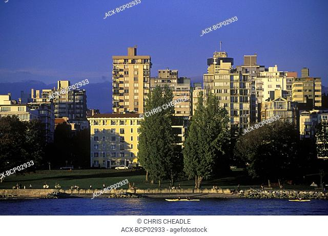 View across English Bay to West End condos, Vancouver, British Columbia, Canada