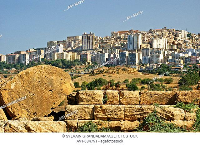 View on the city from The Valley of Temples . Agrigento. Sicily. Italy