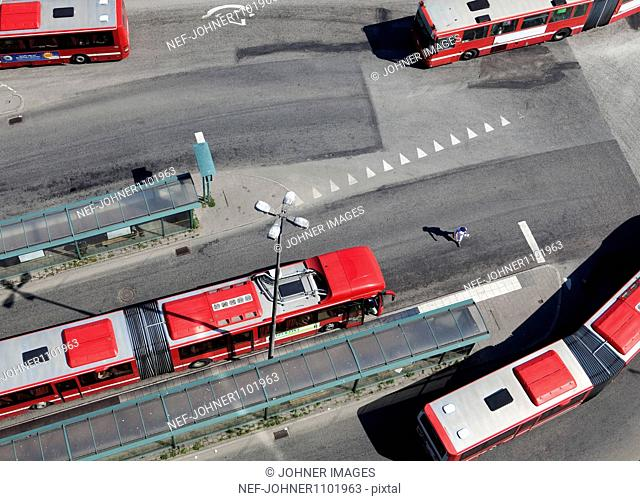 Red and white buses as seen from above