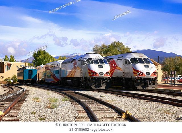 Two Rail Runner trains in the station at the Railyard in Santa Fe, New Mexico USA