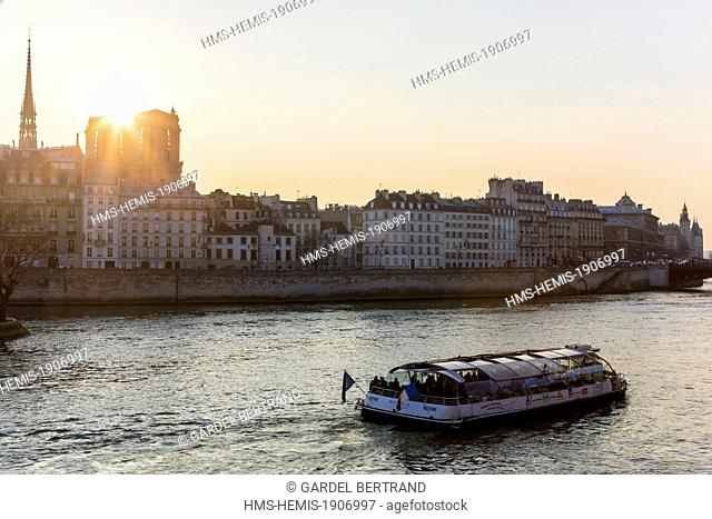 France, Paris, area listed as World Heritage by UNESCO, Cité island and Notre Dame de Paris cathedral