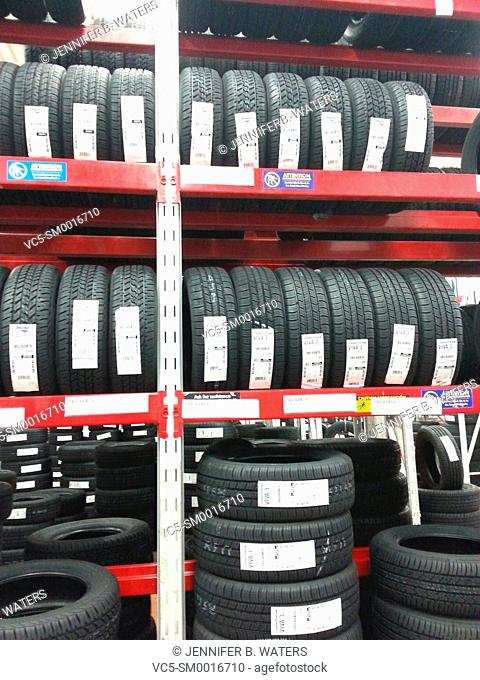 Tires for sale at a retail store