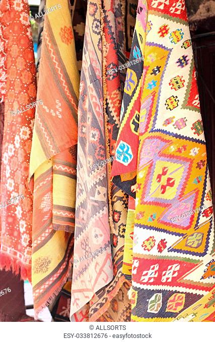 Fabrics, textiles at the local bazaar in Fethiye, Turkey ,July ,2013