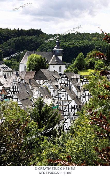 Germany, North Rhine Westphalia, Freudenberg, half-timbered houses, elevated view