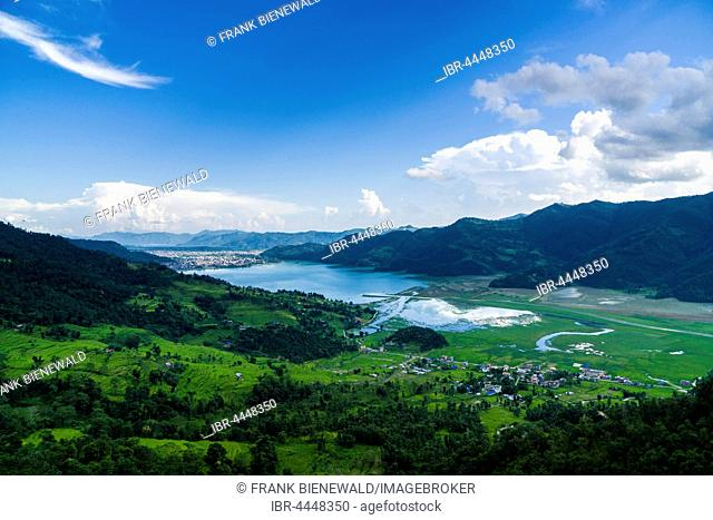 Phewa Lake, Pokhara and agricultural landscape, Pame, Kaski District, Nepal