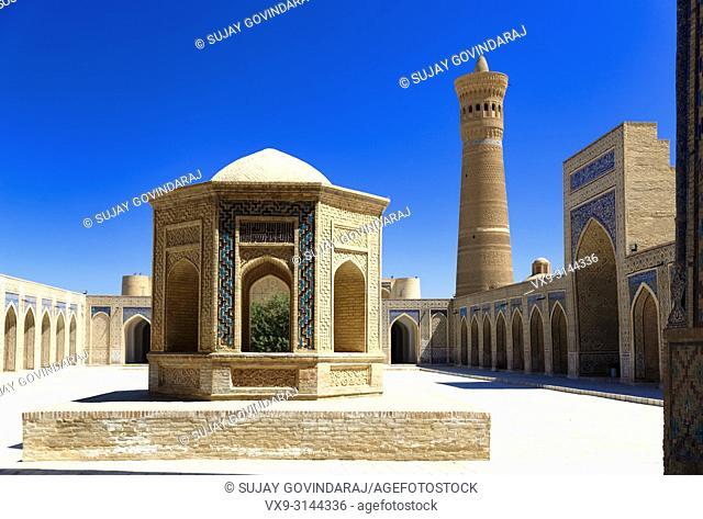 Bukhara, Uzbekistan - August 27, 2016: The inner court yard of Kalyan Mosque, was built in 1127 CE, part of Poi Kalyan Complex