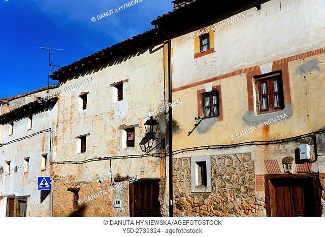 traditional architecture of old town of Covarrubias, Ruta del Cid, Burgos province, Castilla-León, Castile and León, Castilla y Leon, Spain, Europe