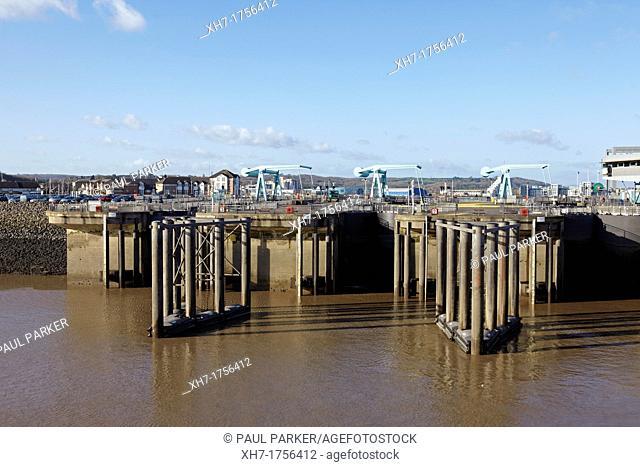 Lock Gates at Cardiff barrage, Cardiff bay, Wales, UK