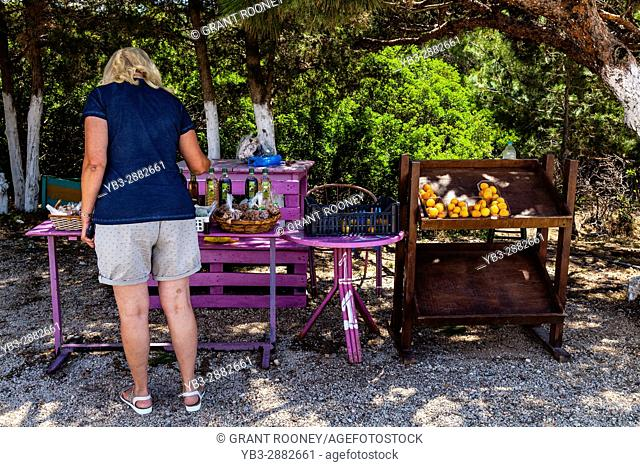 Local Produce For Sale By The Side Of The Road, Rhodes, Greece
