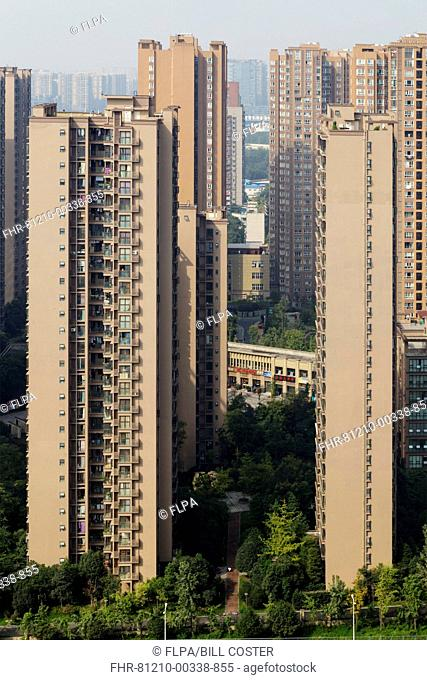 Highrise apartment blocks in city, Chengdu City, Sichuan Province, China, October