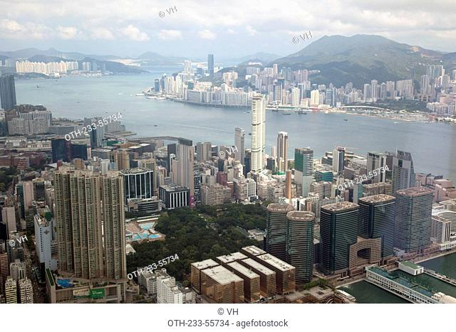 Panoramic sweep of Hong Kong cityscape from Sky100, 393 meters above sea level, Hong Kong