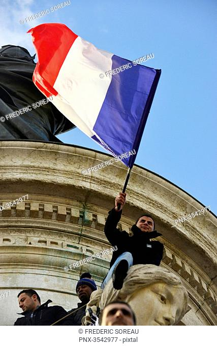 January 11, 2015 : Rally in response to terrorist attacks in France, Paris (75), France