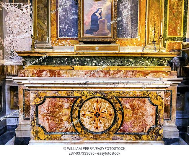 Stone Altar SS Vincenzo E Anastasio Church Basilica Trevi Rome Italy. Vincenzo Anastasio Church is Baroque Church built in the 1600s next to Trevi fountain