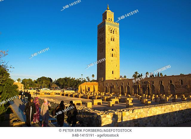 Koutoubia mosque exterior Marrakesh central Morocco Africa
