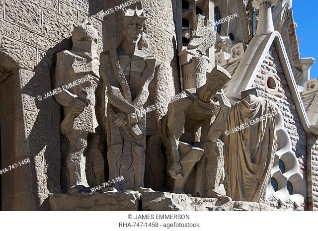 Tableaux in carved stone near the entrance to Sagrada Familia, Barcelona, Catalunya, Spain, Europe