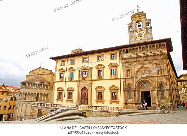 Piazza Grande Santa Maria della Pieve church in Arezzo Tuscany Italy