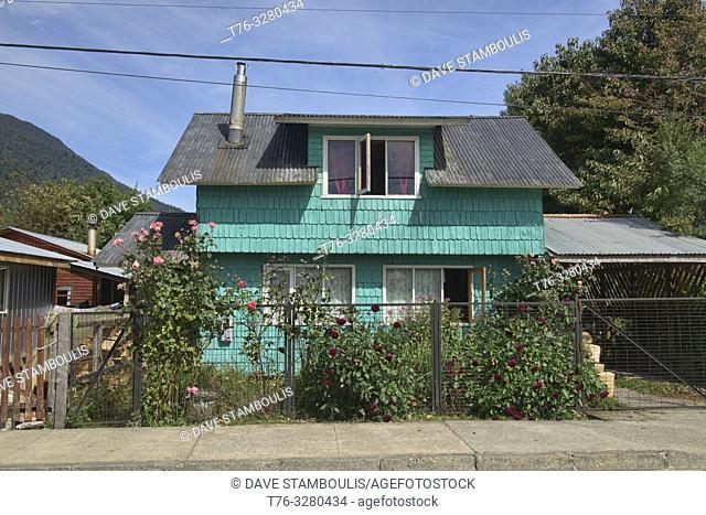 Traditional shingled home, Puyuhuapi, Carretera Austral, Patagonia, Aysen, Chile