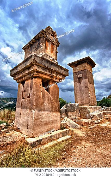 "The Lycian """"Harpy Tomb"""", a marble pillar tomb from 480-470 B.C. The the Greek Archaic style carvings of four winged female figures"
