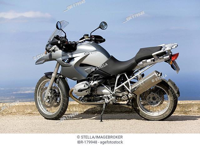 A BMW motorcycle on a hill near Felanitx, Majorca, Balearic Islands, Spain