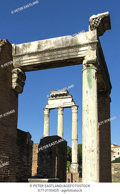 Looking across The Roman Forum towards the Temple of the Dioscuri with Temple of Vesta in the foreground, Rome, Italy