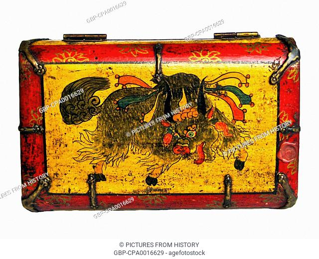 China / Tibet: A traditional painted Tibetan tea chest with a yak on the top, Lhasa, c. late 19th century