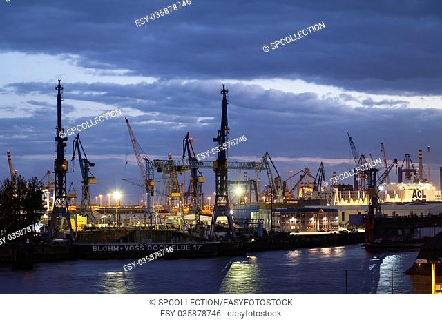 Hamburg containerport at sunset
