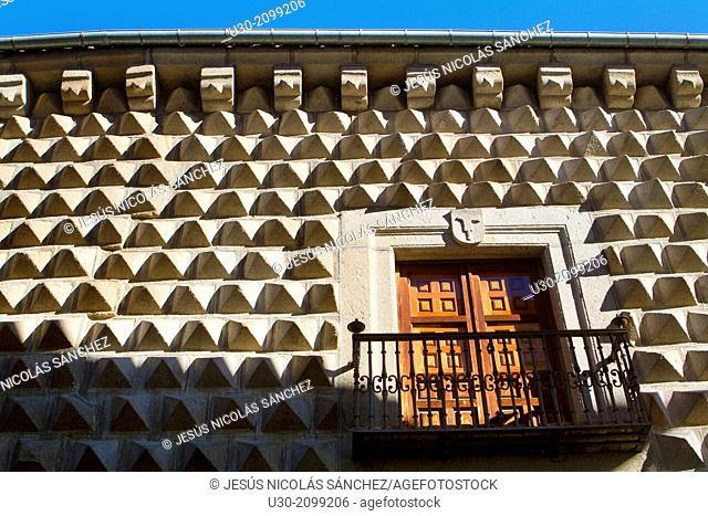Facade of the Peaks House in Segovia, city declarated Historical-Artistic Site, and World Heritage by UNESCO