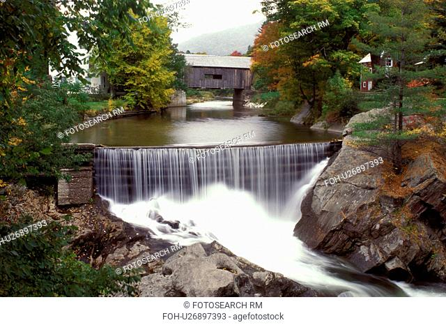Vermont, covered bridge, Mad River Valley, The waterfall cascades down Mad River in the foreground of the Warren Covered Bridge, Circa 1880, in Warren