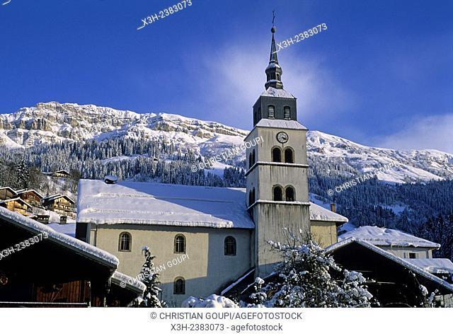 village of Areches in winter, commune of Beaufort-sur-Doron, Savoie department, Rhone-Alpes region, France, Europe