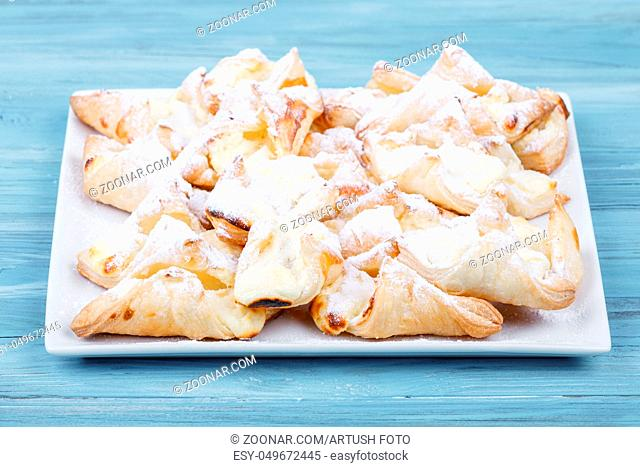 traditional sweet food scarf on vintage wooden table