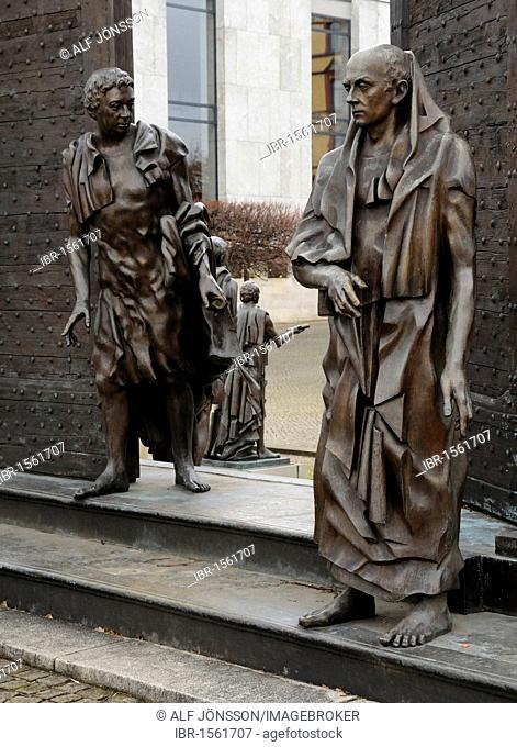 Die Goettinger Sieben statue in Hanover, Lower Saxony, Germany, Europe