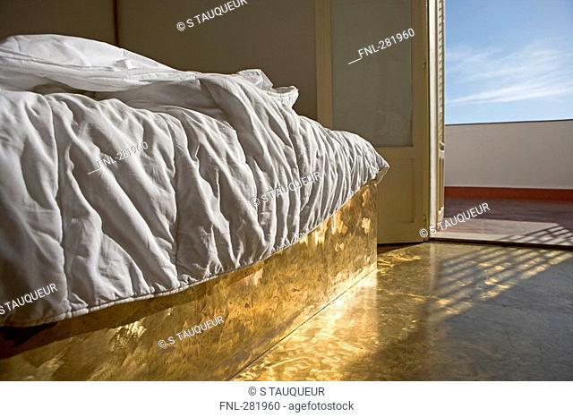 Interiors of hotel bedroom, Italy