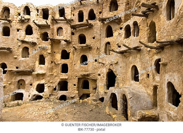 Berber granary with Ghorfas at Ksarr Qasr-al-Hadj Nafusah Mountains Libya