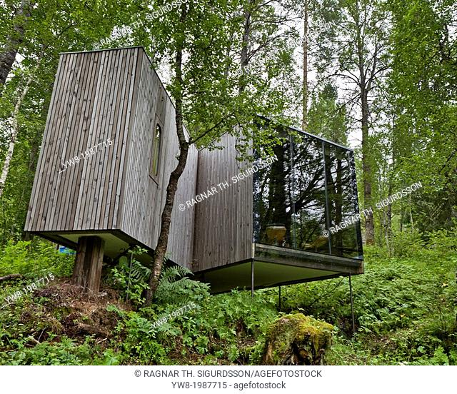 One of the guest houses at The Juvet Landscape Hotel situated on the River Valdolla in the western fjords of Norway