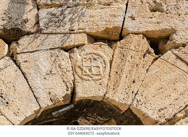 Sign at Martyrion of Saint Philip, ancient ruins in Hierapolis, Pamukkale, Turkey. UNESCO World Heritage