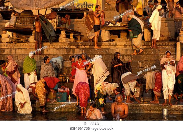 Ritual bathing in the Ganges. Benares, India
