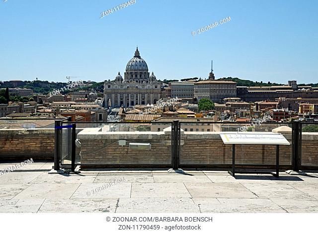 St Peter's Basilica, cityscape, Castel Sant Angelo, castle, Rome, Italy, Europe, Petersdom, Stadtansicht, Castel Sant Angelo, Engelsburg, Rom, Italien, Europa