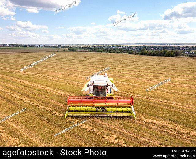 Aerial view from drone on an agricultural field with powerful combine on it on a background of blue sky in a summer time