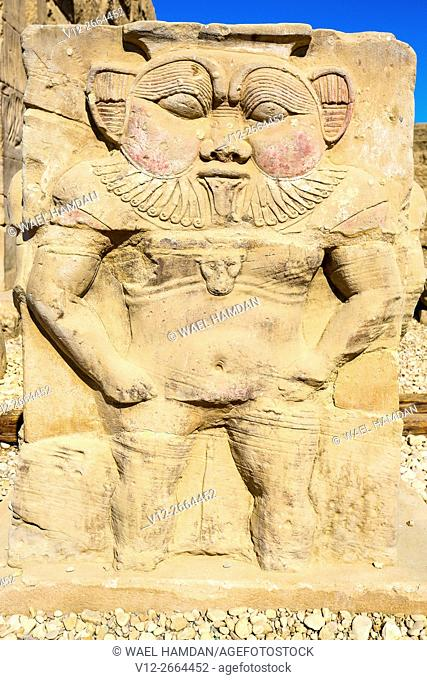 The God Bes from Dendera Temple, Ptolemaic period, 1st century b.C. relief scene, Qena, Egypt