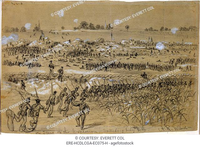 The Civil War, scene of the explosion of Petersburg mine, Virginia. Figure on left has oversized shoes. Drawing on light green paper, by Alfred R