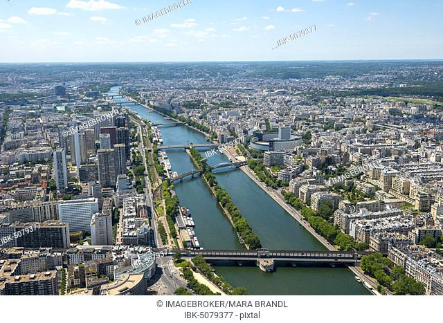 City view with bridges over the Seine, view from the Eiffel Tower, Paris, France, Europe