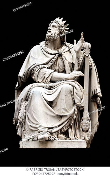 King David by Adamo Tadolini on the base of the Colonna dell'Immacolata, Rome Italy