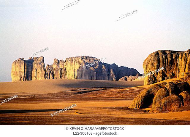 Sand and rocks. Marmar Tassili. Tibesti Massif. Sahara Desert. Chad