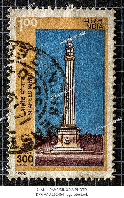 Shahid minar, kolkata, postage stamps, india, asia