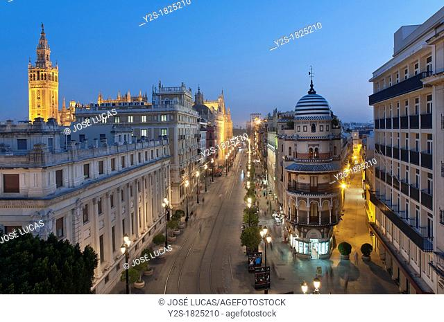Constitution avenue and Giralda tower, Seville, Spain