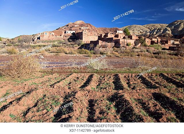 Morocco High Atlas Mountains Telòuet Farm and river